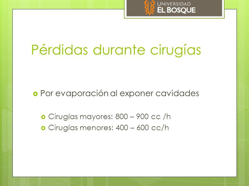 Pérdidas durante cirugías  Por evaporación al exponer cavidades  Cirugías mayores: 800 – 900 cc /h  Cirugías menores: 400 – 600 cc/h