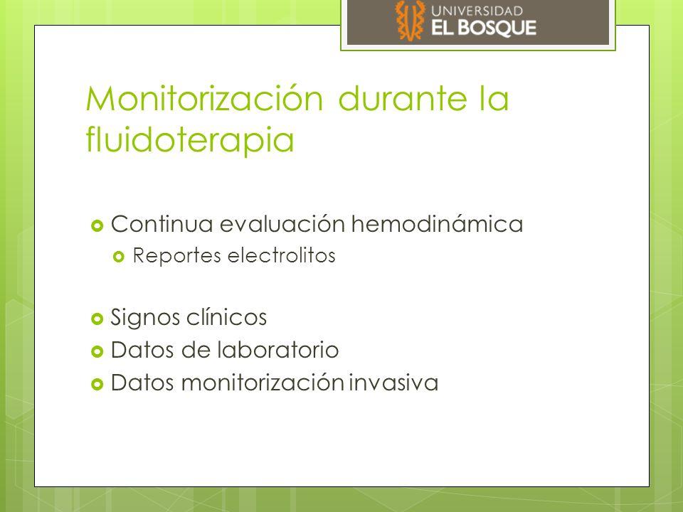 Monitorización durante la fluidoterapia  Continua evaluación hemodinámica  Reportes electrolitos  Signos clínicos  Datos de laboratorio  Datos mo