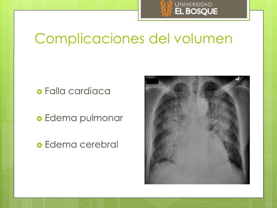 Complicaciones del volumen  Falla cardiaca  Edema pulmonar  Edema cerebral