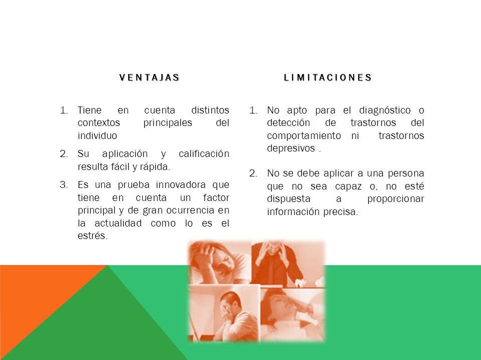 VENTAJAS 1.Tiene en cuenta distintos contextos principales del individuo 2.Su aplicación y calificación resulta fácil y rápida. 3.Es una prueba innova