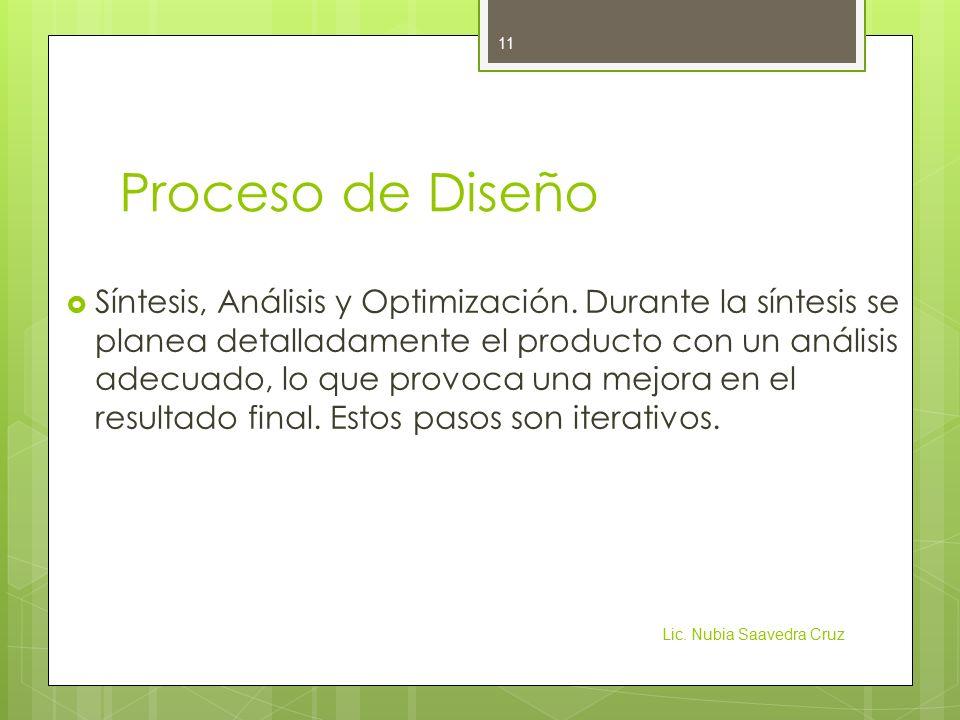 Proceso de Diseño  Síntesis, Análisis y Optimización.