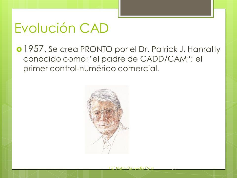 Evolución CAD  1957.Se crea PRONTO por el Dr. Patrick J.