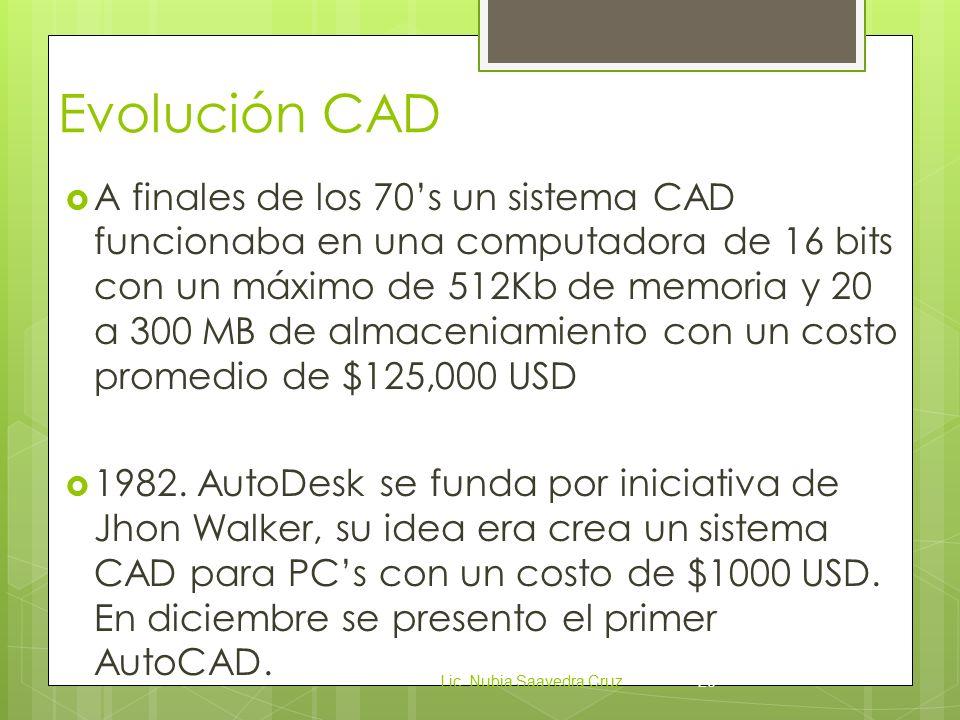 Evolución CAD  A finales de los 70's un sistema CAD funcionaba en una computadora de 16 bits con un máximo de 512Kb de memoria y 20 a 300 MB de almaceniamiento con un costo promedio de $125,000 USD  1982.
