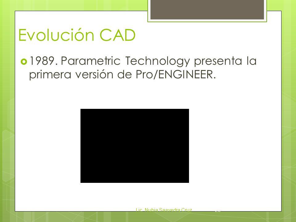 Evolución CAD  1989.Parametric Technology presenta la primera versión de Pro/ENGINEER.