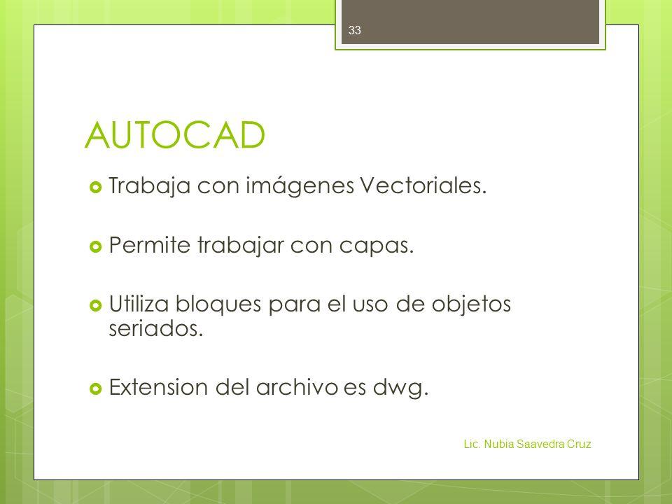 AUTOCAD  Trabaja con imágenes Vectoriales. Permite trabajar con capas.
