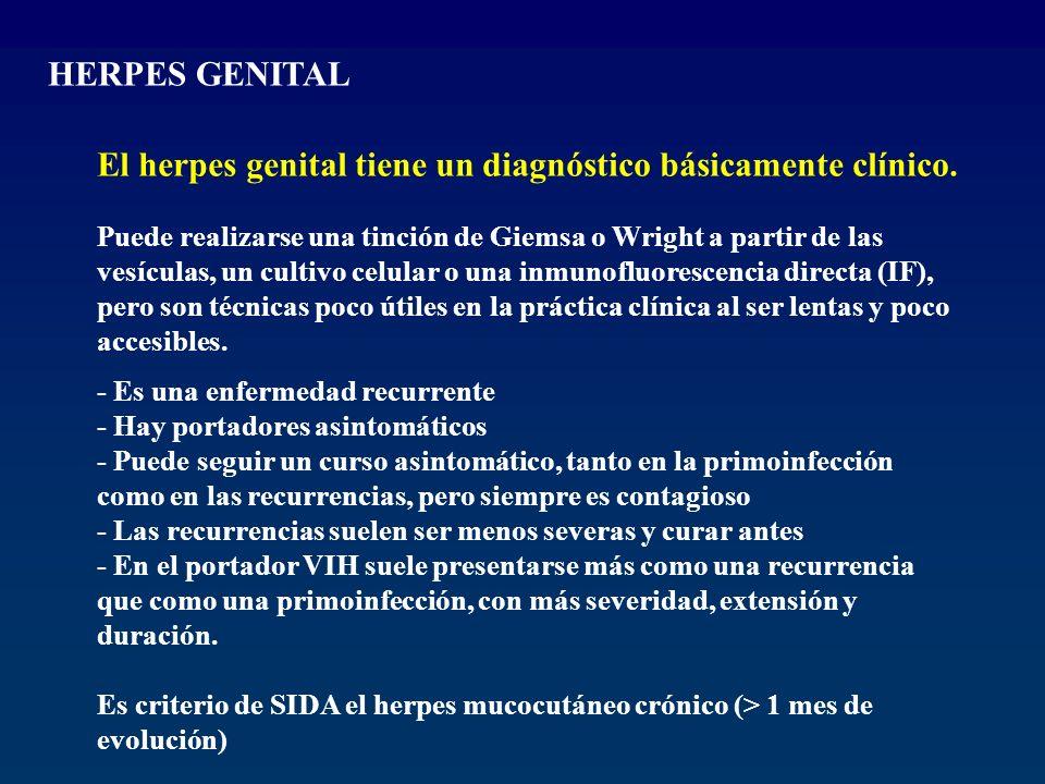 HERPES GENITAL El herpes genital tiene un diagnóstico básicamente clínico. Puede realizarse una tinción de Giemsa o Wright a partir de las vesículas,