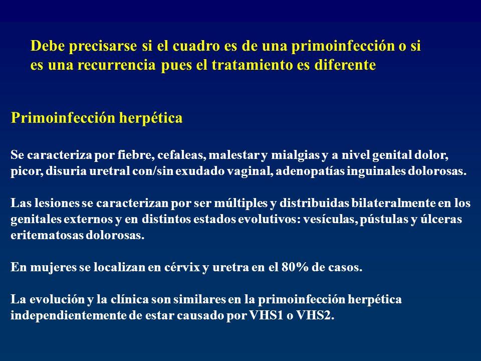 Primoinfección herpética Se caracteriza por fiebre, cefaleas, malestar y mialgias y a nivel genital dolor, picor, disuria uretral con/sin exudado vagi