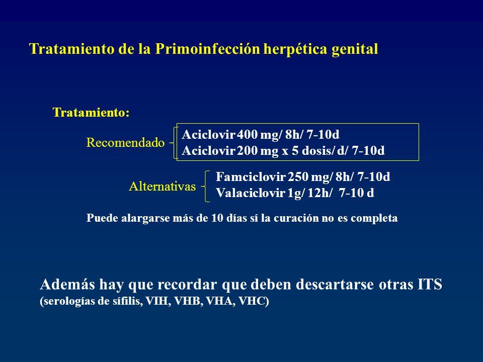Tratamiento: Aciclovir 400 mg/ 8h/ 7-10d Aciclovir 200 mg x 5 dosis/ d/ 7-10d Recomendado Famciclovir 250 mg/ 8h/ 7-10d Valaciclovir 1g/ 12h/ 7-10 d A
