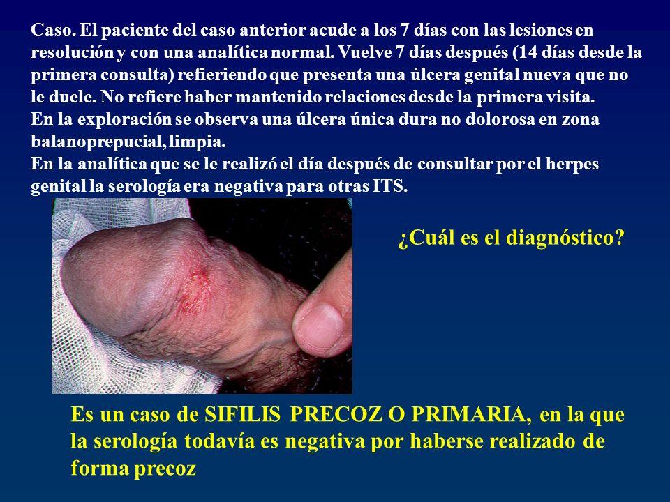 Caso. El paciente del caso anterior acude a los 7 días con las lesiones en resolución y con una analítica normal. Vuelve 7 días después (14 días desde