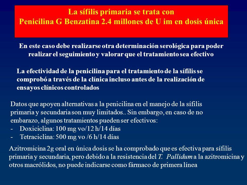 La sífilis primaria se trata con Penicilina G Benzatina 2.4 millones de U im en dosis única En este caso debe realizarse otra determinación serológica