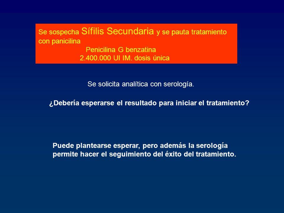 Se sospecha Sífilis Secundaria y se pauta tratamiento con panicilina Penicilina G benzatina 2.400.000 UI IM. dosis única Se solicita analítica con ser