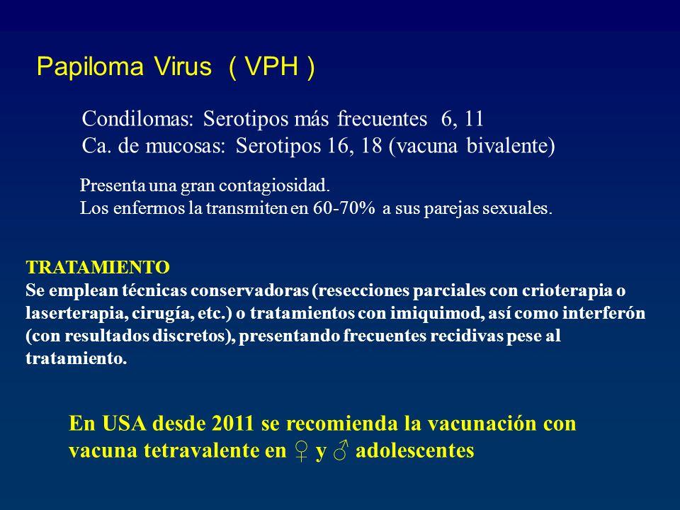 Papiloma Virus ( VPH ) Condilomas: Serotipos más frecuentes 6, 11 Ca. de mucosas: Serotipos 16, 18 (vacuna bivalente) TRATAMIENTO Se emplean técnicas