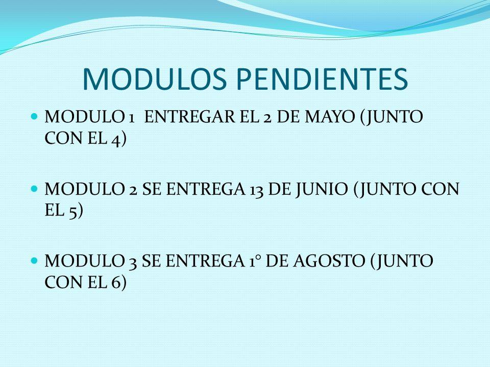 MODULOS PENDIENTES MODULO 1 ENTREGAR EL 2 DE MAYO (JUNTO CON EL 4) MODULO 2 SE ENTREGA 13 DE JUNIO (JUNTO CON EL 5) MODULO 3 SE ENTREGA 1° DE AGOSTO (
