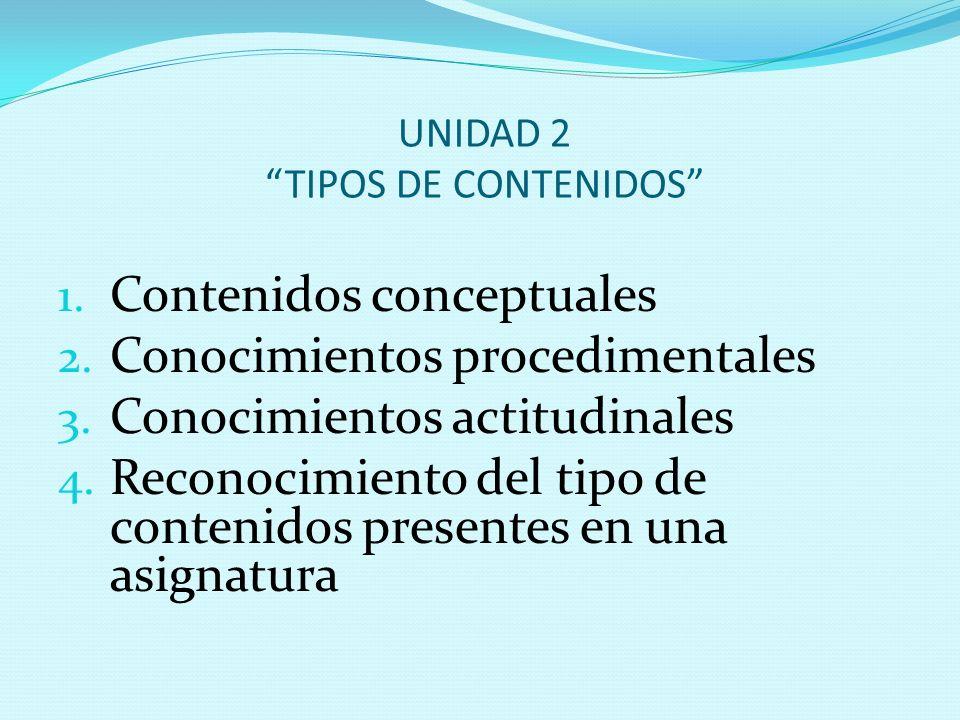 """UNIDAD 2 """"TIPOS DE CONTENIDOS"""" 1. Contenidos conceptuales 2. Conocimientos procedimentales 3. Conocimientos actitudinales 4. Reconocimiento del tipo d"""