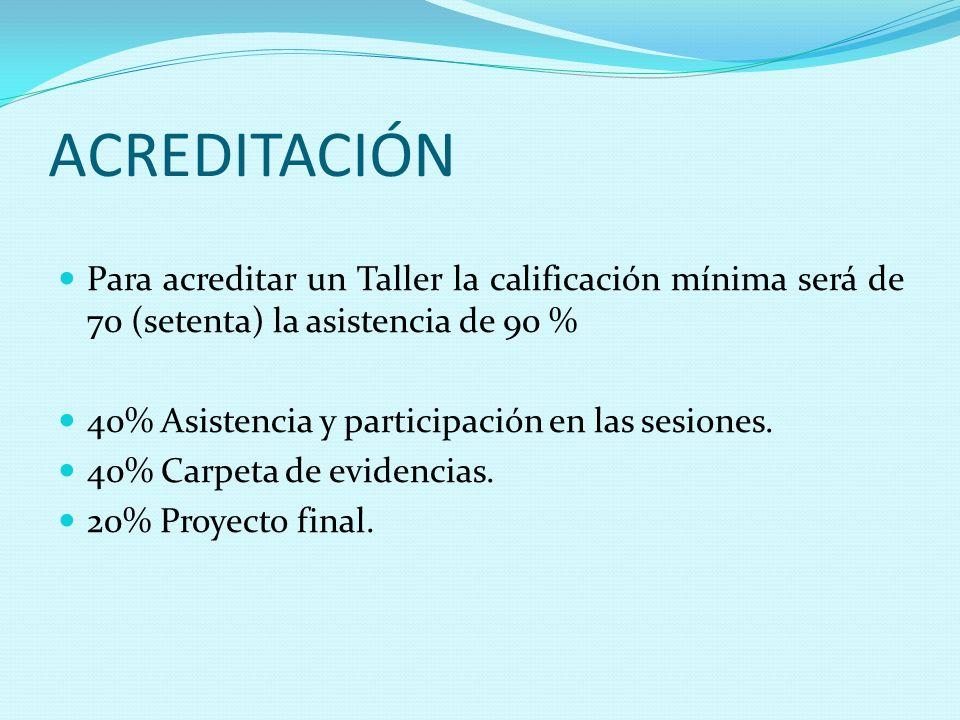 ACREDITACIÓN Para acreditar un Taller la calificación mínima será de 70 (setenta) la asistencia de 90 % 40% Asistencia y participación en las sesiones