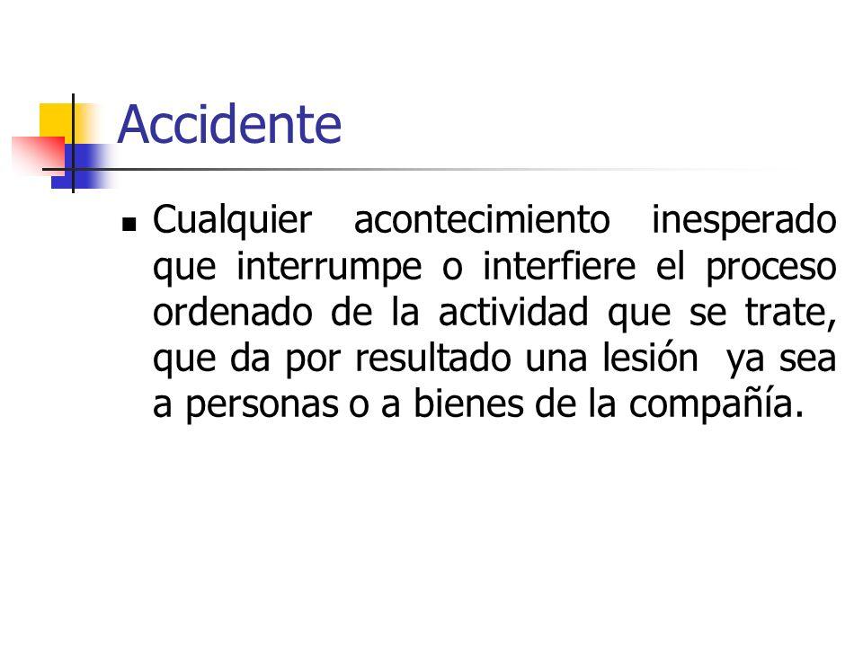 Accidente Cualquier acontecimiento inesperado que interrumpe o interfiere el proceso ordenado de la actividad que se trate, que da por resultado una l