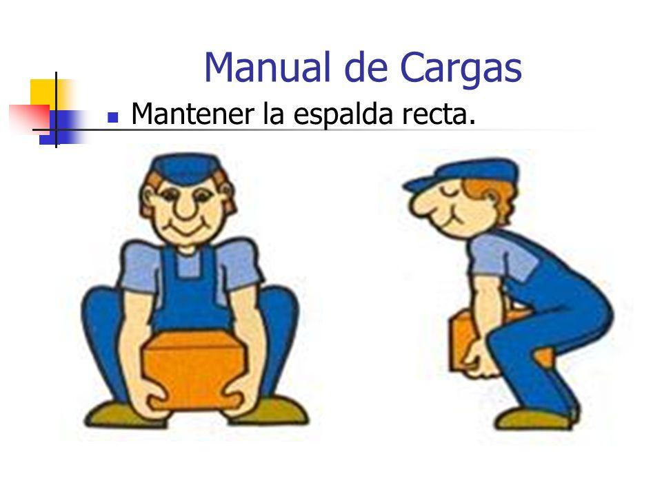 Manual de Cargas No girar el cuerpo mientras se sostiene una carga pesada.