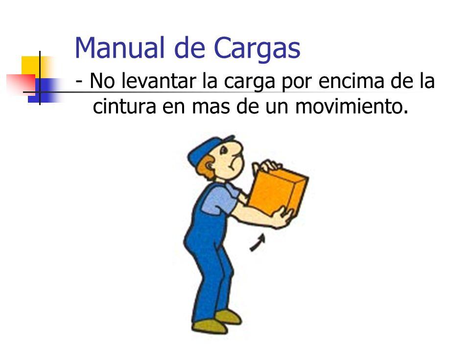 Manual de Cargas - No levantar la carga por encima de la cintura en mas de un movimiento.