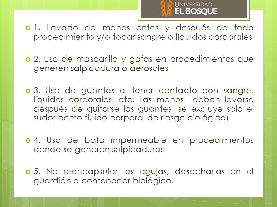 Precauciones por gotas  Se utiliza cuando la trasmisión del organismo infectante ocurre en partículas mayores de cinco (5) micras.