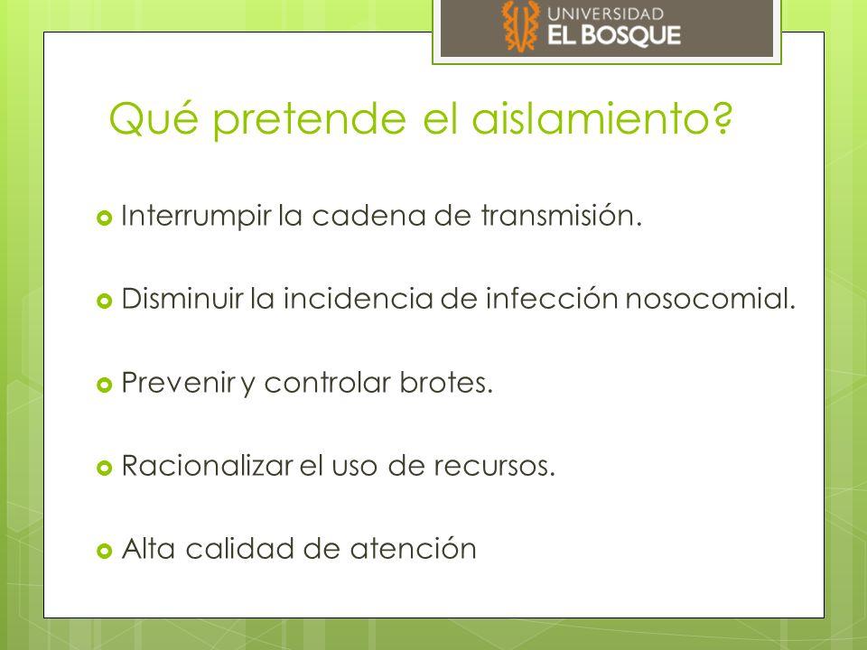Características del aislamiento hospitalario  Electivo  No invasivo  Insustituible  No requiere orden medica.