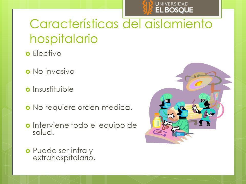 Categorías de aislamiento CDC 1.994  Habitación del paciente  Lavado de manos  Guantes y tapaboca  Ropa contaminada del paciente  Batas  Desinfección de la habitación  Objetos inanimados  Traslado de pacientes  Información al paciente y a la familia