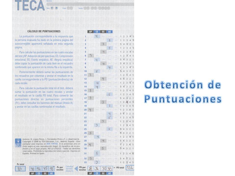 Normas de interpretación Uso de los datos formativos Se usan los baremos de los tipos mas frecuentes en el contexto de psicología de trabajo y de las organizaciones.
