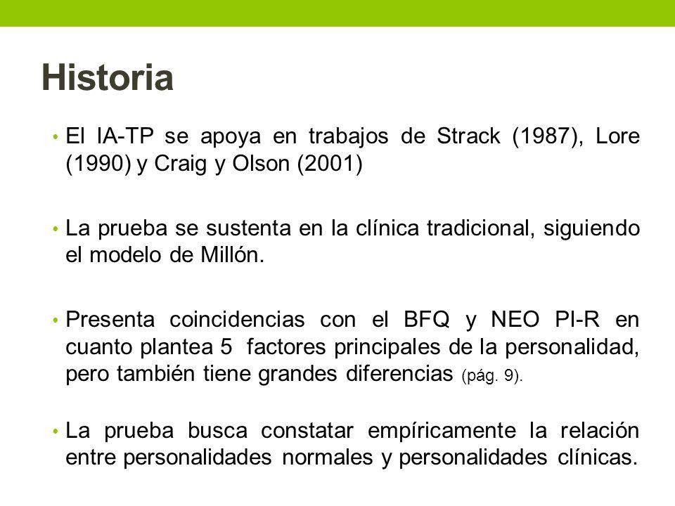 Otra información El IA_TP facilita para cada caso de personalidad, una estructura empírica, tanto por los que puntúan alto como por los que puntúan bajo.