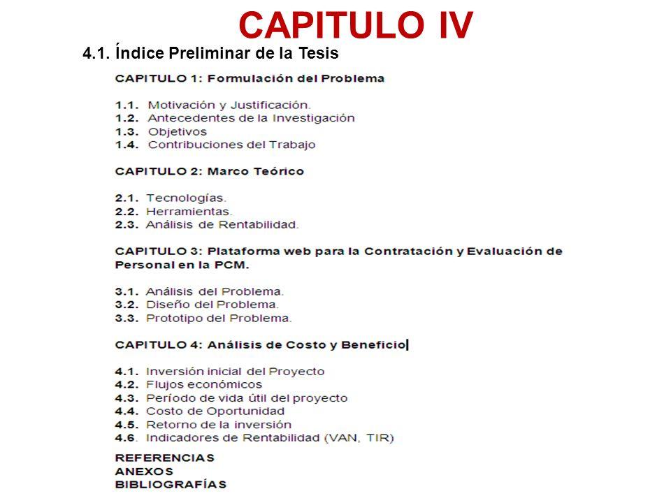 4.1. Índice Preliminar de la Tesis CAPITULO IV