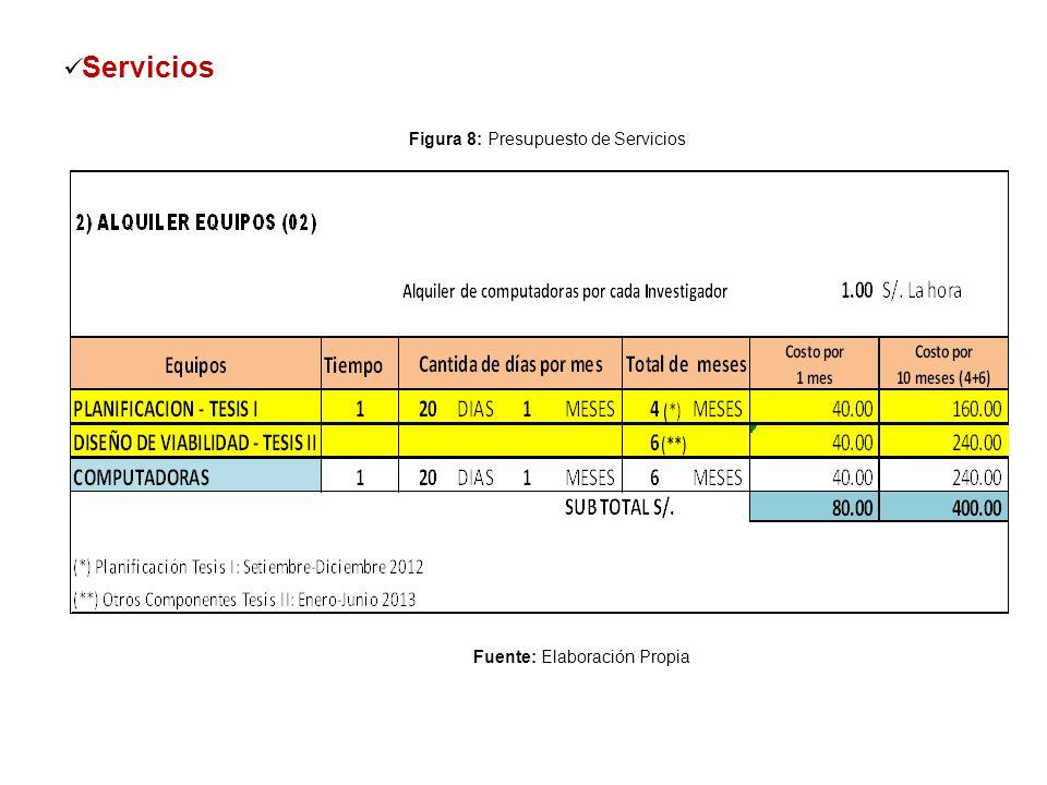 Servicios Figura 8: Presupuesto de Servicios Fuente: Elaboración Propia