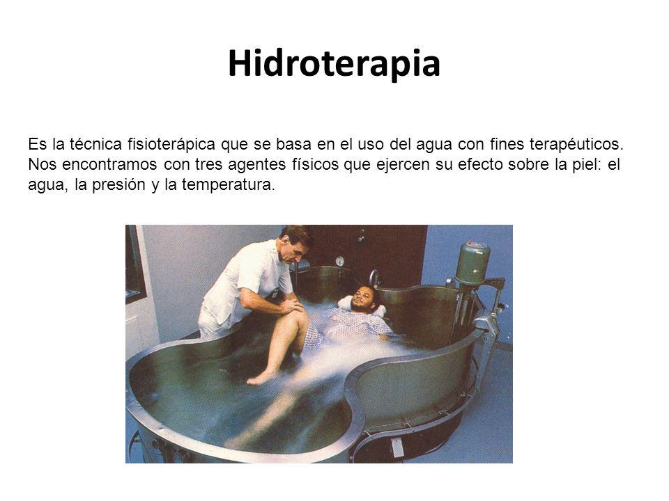 Hidroterapia Es la técnica fisioterápica que se basa en el uso del agua con fines terapéuticos.