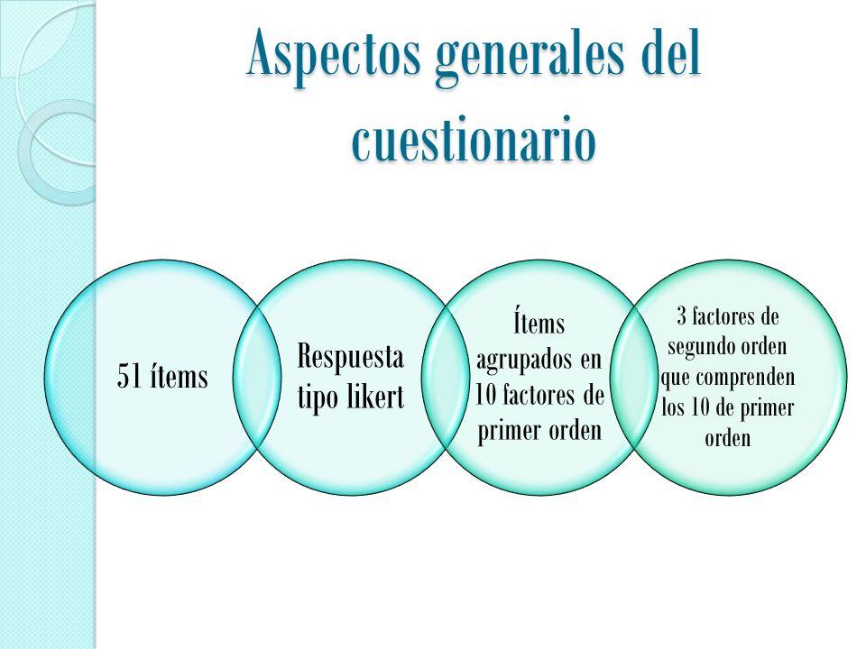 Aspectos generales del cuestionario 51 ítems Respuesta tipo likert Ítems agrupados en 10 factores de primer orden 3 factores de segundo orden que comprenden los 10 de primer orden