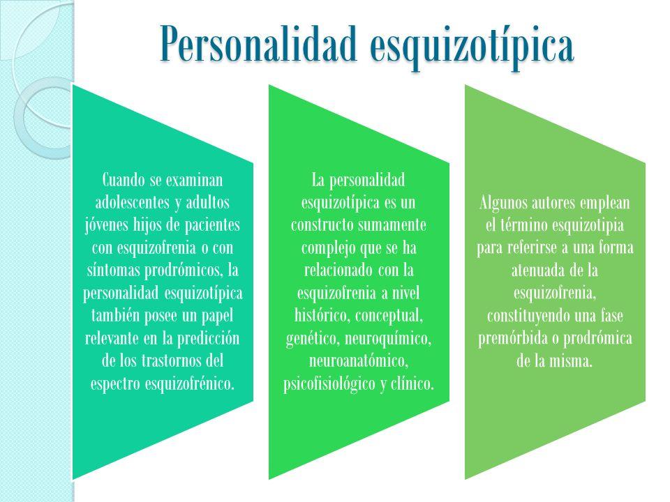 Personalidad esquizotípica Cuando se examinan adolescentes y adultos jóvenes hijos de pacientes con esquizofrenia o con síntomas prodrómicos, la personalidad esquizotípica también posee un papel relevante en la predicción de los trastornos del espectro esquizofrénico.