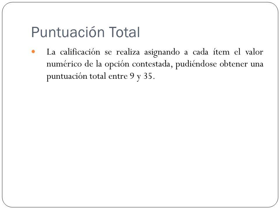 Puntuación Total La calificación se realiza asignando a cada ítem el valor numérico de la opción contestada, pudiéndose obtener una puntuación total entre 9 y 35.