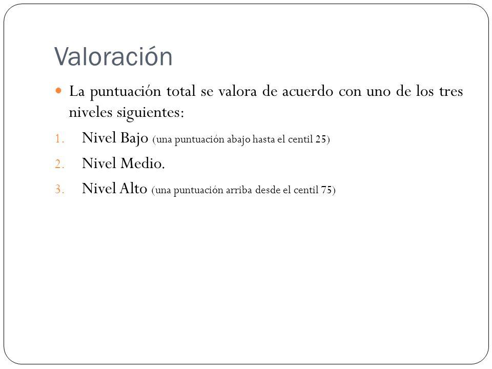Valoración La puntuación total se valora de acuerdo con uno de los tres niveles siguientes: 1. Nivel Bajo (una puntuación abajo hasta el centil 25) 2.
