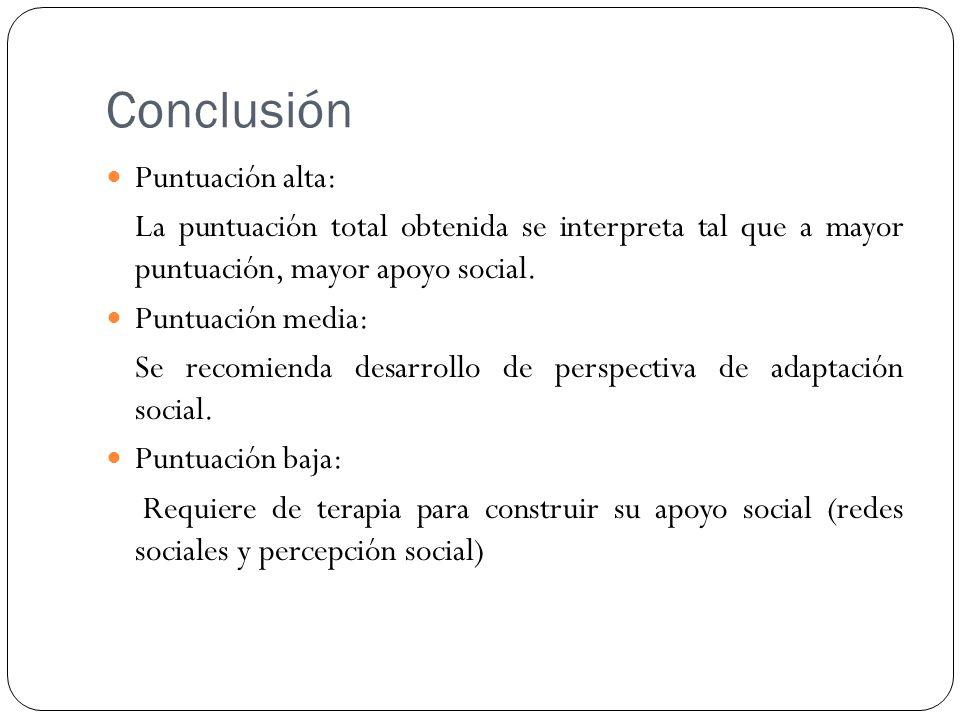Conclusión Puntuación alta: La puntuación total obtenida se interpreta tal que a mayor puntuación, mayor apoyo social. Puntuación media: Se recomienda