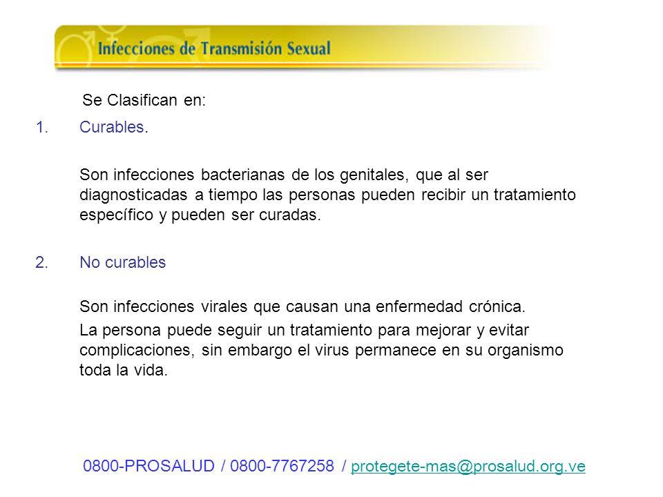 ITS Curables 1.Clamidia 2.Sífilis 3.Gonorrea 4.Chancro Blando 5.Vulvovaginitis ITS No curables 1.V.I.H (Virus de Inmunodeficiencia adquirida) 2.V.P.H.