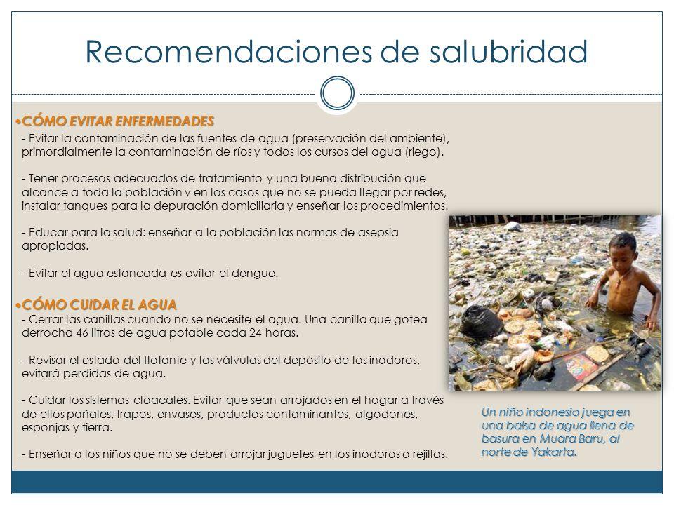 Recomendaciones de salubridad CÓMO EVITAR ENFERMEDADES CÓMO EVITAR ENFERMEDADES - Evitar la contaminación de las fuentes de agua (preservación del ambiente), primordialmente la contaminación de ríos y todos los cursos del agua (riego).