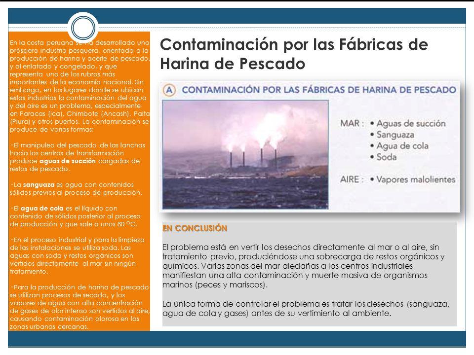 Contaminación por las Fábricas de Harina de Pescado En la costa peruana se ha desarrollado una próspera industria pesquera, orientada a la producción de harina y aceite de pescado, y al enlatado y congelado, y que representa uno de los rubros más importantes de la economía nacional.