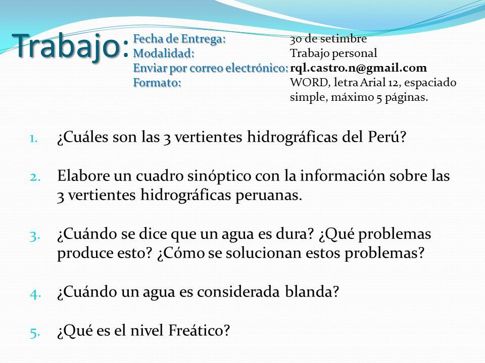 Trabajo Trabajo: 1. ¿Cuáles son las 3 vertientes hidrográficas del Perú.