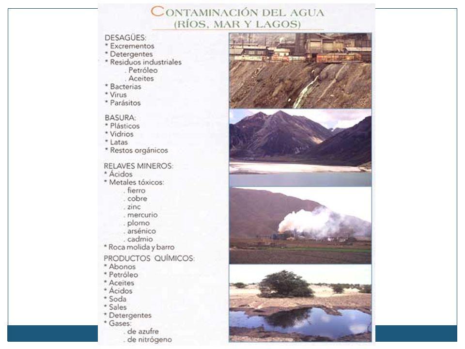 La contaminación del agua La contaminación del agua (ríos, lagos y mares) es producida, principalmente, por cuatro vías: vertimiento de aguas servidas, de basuras, de relaves mineros y de productos químicos.