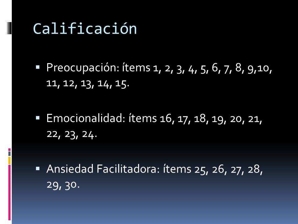 Calificación  Preocupación: ítems 1, 2, 3, 4, 5, 6, 7, 8, 9,10, 11, 12, 13, 14, 15.