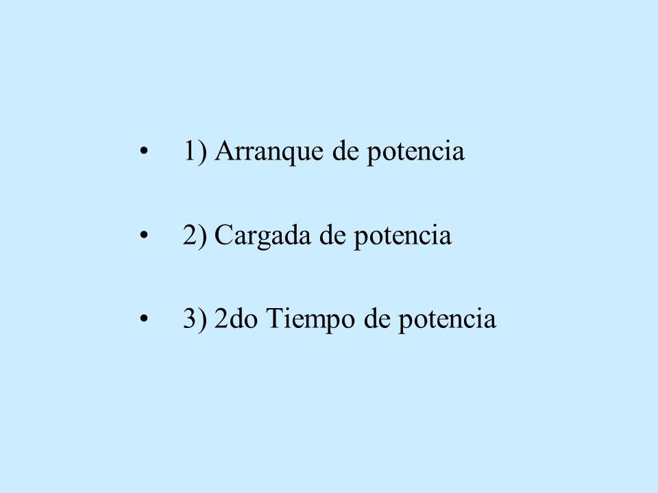 1) Arranque de potencia 2) Cargada de potencia 3) 2do Tiempo de potencia
