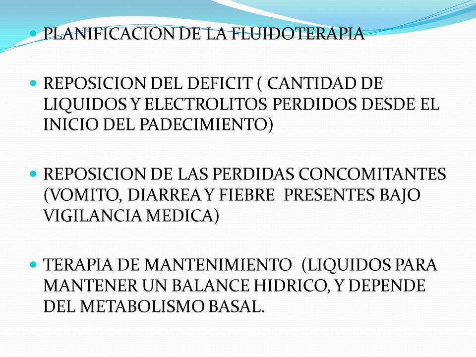 PLANIFICACION DE LA FLUIDOTERAPIA REPOSICION DEL DEFICIT ( CANTIDAD DE LIQUIDOS Y ELECTROLITOS PERDIDOS DESDE EL INICIO DEL PADECIMIENTO) REPOSICION D