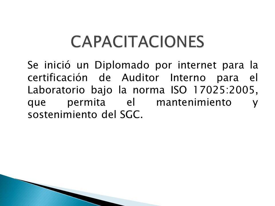 Se inició un Diplomado por internet para la certificación de Auditor Interno para el Laboratorio bajo la norma ISO 17025:2005, que permita el mantenim