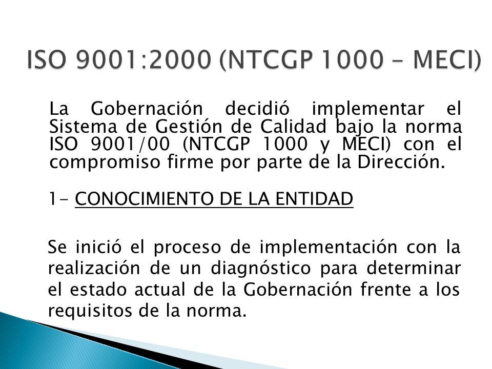 La Gobernación decidió implementar el Sistema de Gestión de Calidad bajo la norma ISO 9001/00 (NTCGP 1000 y MECI) con el compromiso firme por parte de