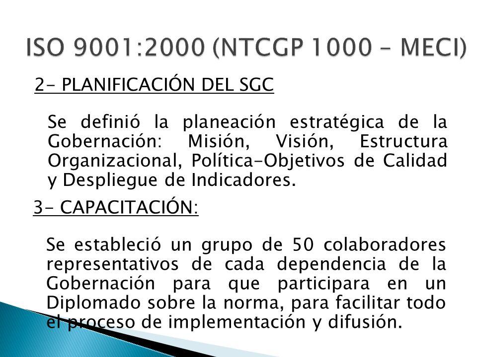 2- PLANIFICACIÓN DEL SGC Se definió la planeación estratégica de la Gobernación: Misión, Visión, Estructura Organizacional, Política-Objetivos de Cali
