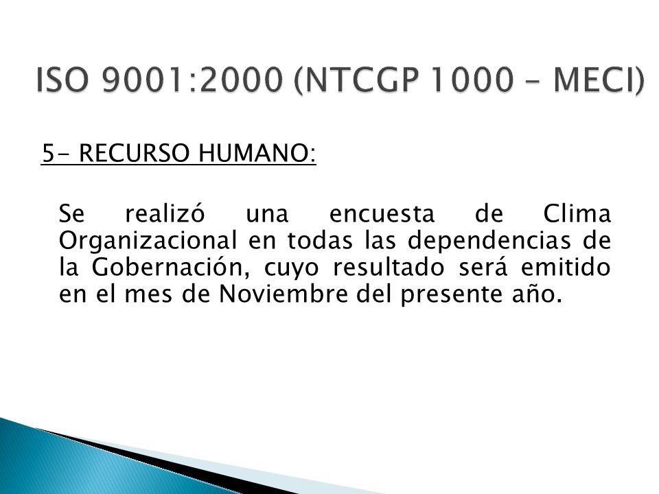 5- RECURSO HUMANO: Se realizó una encuesta de Clima Organizacional en todas las dependencias de la Gobernación, cuyo resultado será emitido en el mes
