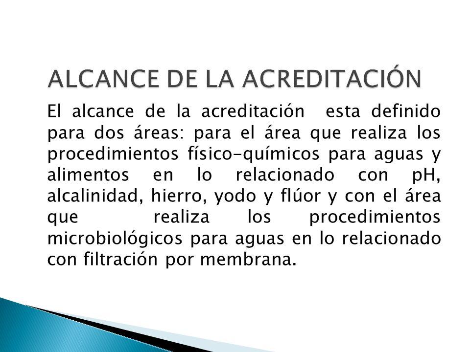 El alcance de la acreditación esta definido para dos áreas: para el área que realiza los procedimientos físico-químicos para aguas y alimentos en lo r