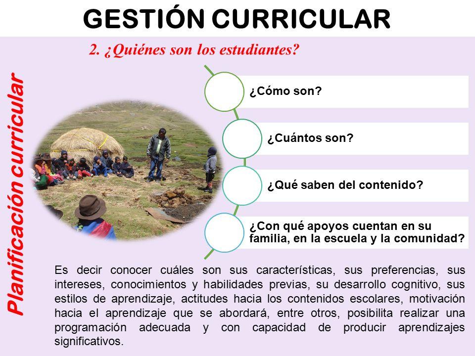 GESTIÓN CURRICULAR Planificación curricular ¿Cómo son? ¿Cuántos son? ¿Qué saben del contenido? ¿Con qué apoyos cuentan en su familia, en la escuela y