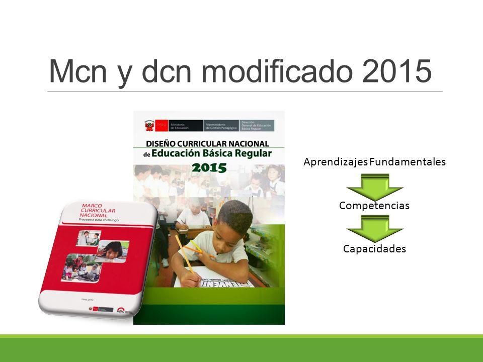 Mcn y dcn modificado 2015 Aprendizajes Fundamentales Competencias Capacidades